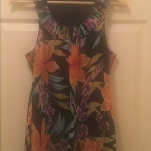 Spense Black W/ Colorful Floral Sleeveless Top. L